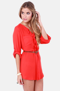 Keep it Real Belted Red Shirt Dress at Lulus.com!
