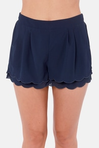 Scallop Poll Scalloped Navy Blue Shorts at Lulus.com!