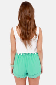 Scallop Poll Scalloped Mint Green Shorts at Lulus.com!