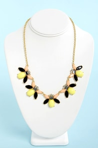 Jewel-ie Andrews Peach, Black, and Yellow Necklace at Lulus.com!
