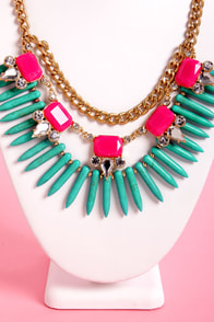 Trinket Belle Pink and Turquoise Statement Necklace at Lulus.com!
