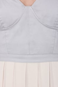 Busti-Yay Cream and Grey Bustier Dress at Lulus.com!