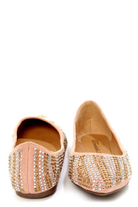 Talia 05 Blush Rhinestone Studded Pointed Flats at Lulus.com!