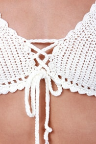 Gypsy Junkies Sunshine Ivory Crochet Halter Top at Lulus.com!