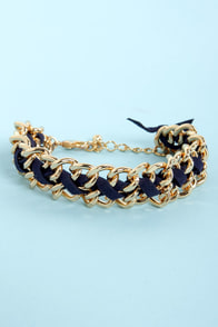Shimmer Me Timbers Navy Blue and Gold Chain Bracelet at Lulus.com!