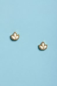 Fleur de Lis Ivory Rhinestone Earrings at Lulus.com!