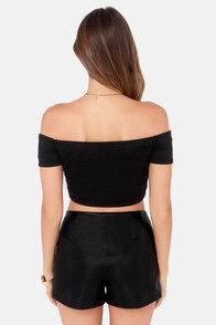 Crop Top Story Black Off-the-Shoulder Top at Lulus.com!