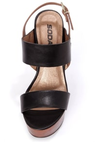Soda Chef Black Wooden Platform Wedge Sandals at Lulus.com!