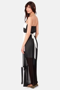 Keep In Checkmate Black and Cream Maxi Dress at Lulus.com!