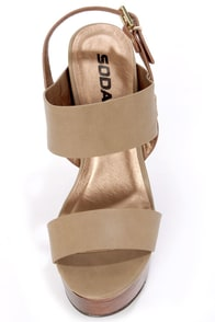 Soda Chef Stone Taupe Wooden Platform Wedge Sandals at Lulus.com!