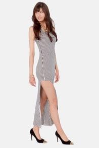 Leg Hunt Black and White Striped Maxi Dress at Lulus.com!
