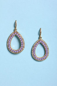 Shine and Dine Lavender Rhinestone Earrings at Lulus.com!