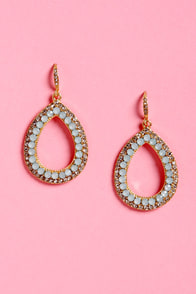 Shine and Dine Mint Blue Rhinestone Earrings at Lulus.com!