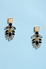 Downtown Jewel-ie Brown Beige and Black Rhinestone Earrings at Lulus.com!