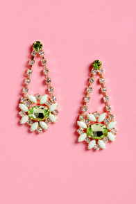 Dazzling Daisies Green Rhinestone Earrings at Lulus.com!