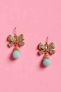 Strike a Bows Mint Blue Crystal Earrings at Lulus.com!