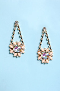 Dazzling Daisies Peach Rhinestone Earrings at Lulus.com!
