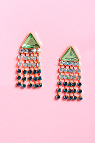 Dangle-ous Liaisons Mint and Blue Rhinestone Earrings at Lulus.com!