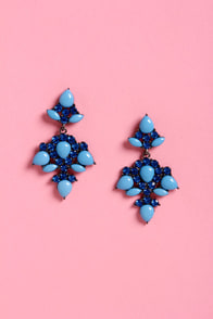 Dinner Party of Two Blue Rhinestone Earrings at Lulus.com!