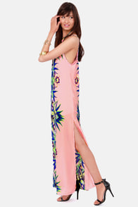 Botanic Activity Pink Floral Print Maxi Dress at Lulus.com!