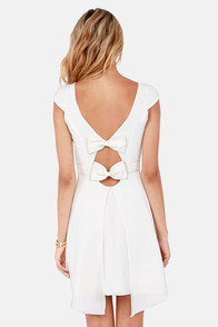 Two Bows Down Ivory Dress at Lulus.com!