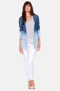 Blaze Runner Ombre Denim Blazer at Lulus.com!