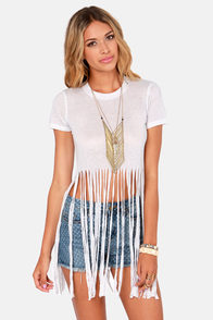 Lucca Couture Move It Ivory Fringe Tee at Lulus.com!