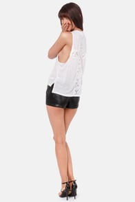 Lucca Couture Fingers Crossed Ivory Lace Muscle Tee at Lulus.com!