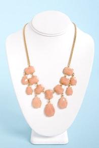 Gem-balaya Peach Statement Necklace at Lulus.com!