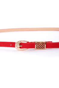 Exciting Events Red Skinny Belt at Lulus.com!