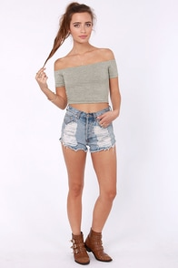Crop Top Story Grey Off-the-Shoulder Top at Lulus.com!