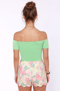 Crop Top Story Mint Green Off-the-Shoulder Top at Lulus.com!
