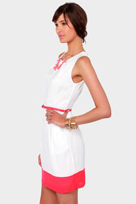 LULUS Exclusive The Good Life Coral and White Dress at Lulus.com!