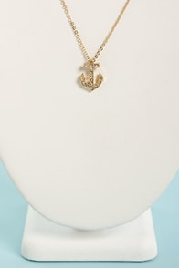 Lie At Anchor Gold Rhinestone Necklace at Lulus.com!