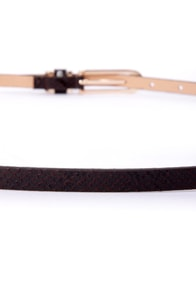 Belt-ty Page Black Snakeskin Skinny Belt at Lulus.com!