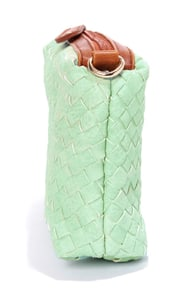 Pulling Weaves Woven Mint Clutch at Lulus.com!