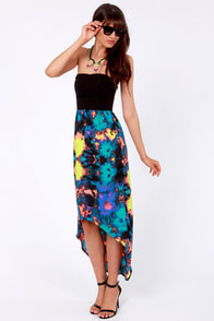 Hurley Sheila Strapless Neon Print Dress