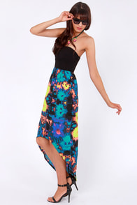 Hurley Sheila Strapless Neon Print Dress at Lulus.com!