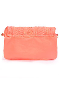 Texture-y Duty Neon Coral Clutch at Lulus.com!