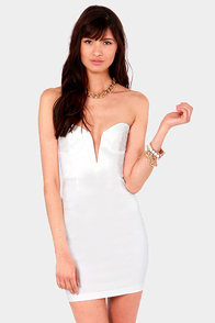 Rolling in the Deep V White Strapless Dress at Lulus.com!