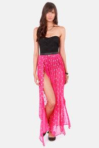 Gypsy Junkies Oceana High Slit Silk Fuchsia Maxi Skirt at Lulus.com!