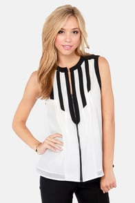 Call of the Styled Black and Ivory Top at Lulus.com!