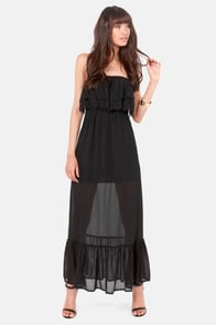 Twinkling of an Eyelet Strapless Black Maxi Dress at Lulus.com!