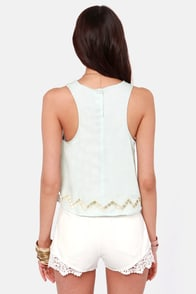 Lucca Couture Chambray-by Love Light Blue Top at Lulus.com!