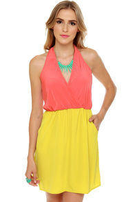 LULUS Exclusive Back Beauty Coral and Chartreuse Dress at Lulus.com!