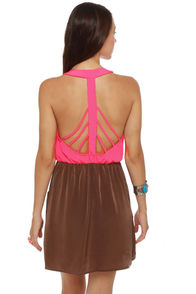 Back Beauty Neon Pink and Brown Dress at Lulus.com!