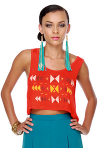 WkShp Sioux Falls Orange Crop Top at Lulus.com!