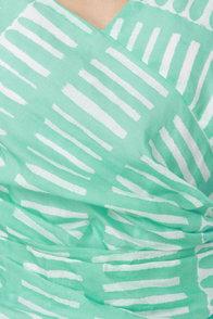 Aryn K Geometric Mermaid Aqua Dress