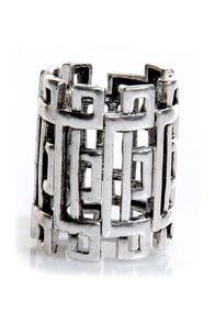 Daily Puzzler Silver Stretch Ring at Lulus.com!