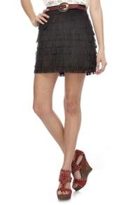 Boot Scootin' Black Fringe Mini Skirt